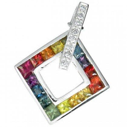 Rainbow Sapphire & Diamond Large Square Pendant 18K White Gold (1.37ct tw) SKU: 431-18K-YG