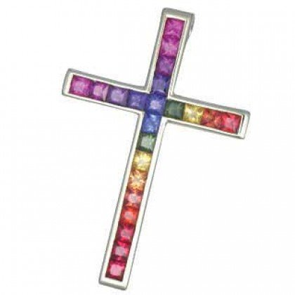 Rainbow Sapphire Religious Crucifix Cross Pendant 18K White Gold (5ct tw) SKU: 438-18K-WG