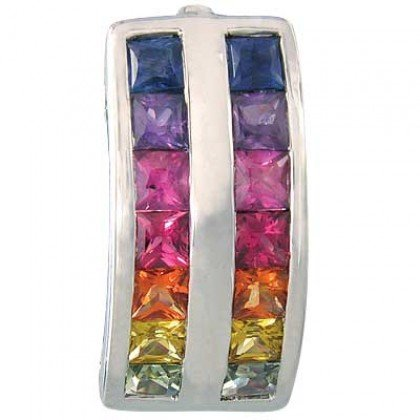 Rainbow Sapphire Double Row Pendant 14K White Gold (2.3ct tw) SKU: 1504-14K-WG
