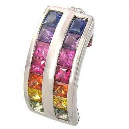 Rainbow Sapphire Double Row Pendant 18K White Gold (2.3ct tw) SKU: 1504-18K-WG