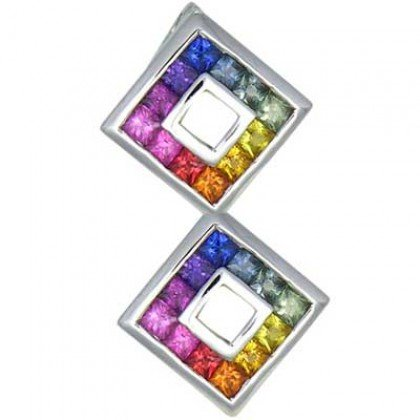 Rainbow Sapphire Double Small Square Pendant 14K White Gold (1.5ct tw) SKU: 525-14K-WG