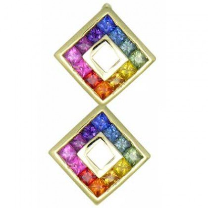 Rainbow Sapphire Double Small Square Pendant 14K Yellow Gold (1.5ct tw) SKU: 525-14K-YG