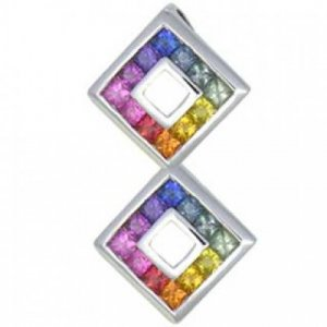 Rainbow Sapphire Double Small Square Pendant 18K White Gold (1.5ct tw) SKU: 525-18K-WG