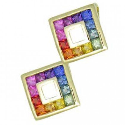 Rainbow Sapphire Double Small Square Pendant 18K Yellow Gold (1.5ct tw) SKU: 525-18K-YG