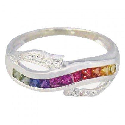 Rainbow Sapphire & Diamond Classic Twist Ring 14K White Gold (0.69ct tw) SKU: 1456-14K-WG