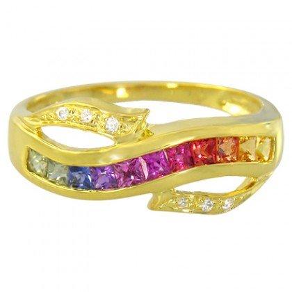 Rainbow Sapphire & Diamond Classic Twist Ring 14K Yellow Gold (0.69ct tw) SKU: 1456-14K-YG
