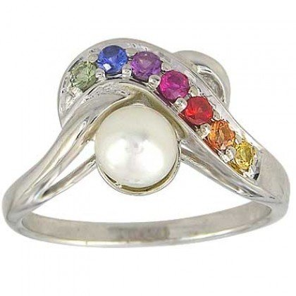 Multicolor Rainbow Sapphire & Pearl Classic Ring 925 Sterling Silver (1/4ct tw) SKU: 1604-925