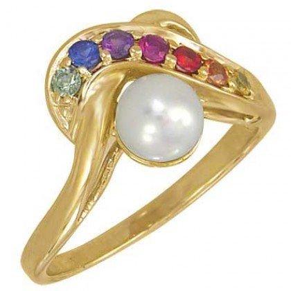 Multicolor Rainbow Sapphire & Pearl Classic Ring 14K Yellow Gold (1/4ct tw) SKU: 1604-14K-YG
