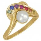 Multicolor Rainbow Sapphire & Pearl Classic Ring 14K Yellow Gold (1/4ct tw) SKU: 1604-14K-YG