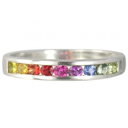 Multicolor Rainbow Sapphire Half Eternity Band Ring 925 Sterling SIlver (1ct tw) SKU: 892-925