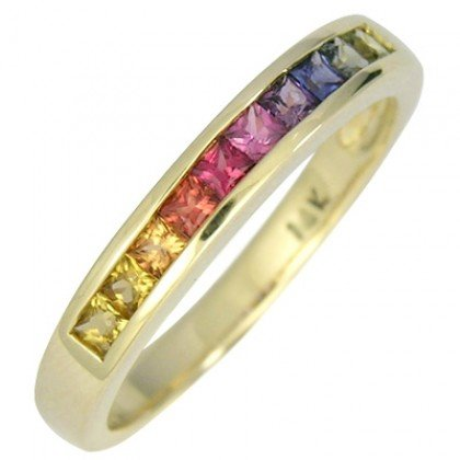 Multicolor Rainbow Sapphire Half Eternity Band Ring 18K Yellow Gold (1ct tw) SKU: 892-18K-YG