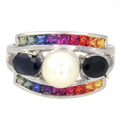 Rainbow Sapphire & Pearl with Blue Sapphire Cluster Ring 925 Sterling Silver (3ct tw) SKU: 1429-925