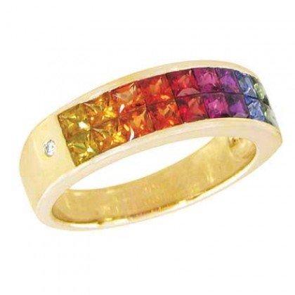 Multicolor Rainbow Sapphire & Diamond Invisible Set Ring 18K Yellow Gold (2.02ct tw) SKU: 435-18K-YG