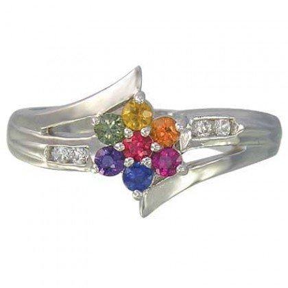 Multicolor Rainbow Sapphire & Diamond Fashion Ring 14K White Gold (3/4ct tw) SKU: 1599-14K-WG