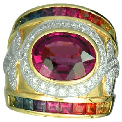 Rainbow Sapphire & Tourmaline With Diamond Ring 18K Yellow Gold (6.87ct tw) SKU: 444-18K-YG