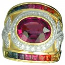 Rainbow Sapphire & Tourmaline With Diamond Ring 18K Yellow Gold (6.87ct tw) SKU: 444-18K-YG