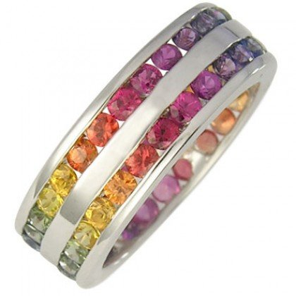 Multicolor Rainbow Sapphire Double Row Eternity Ring 925 Sterling Silver (11ct tw) SKU: 459-925