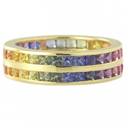 Multicolor Rainbow Sapphire Double Row Eternity Ring 14K Yellow Gold (11ct tw) SKU: 459-14K-YG