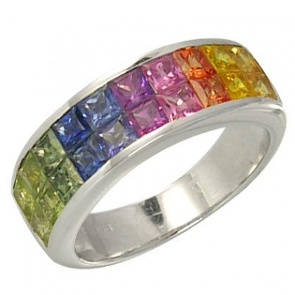 Multicolor Rainbow Sapphire Ring Invisible Set 18K White Gold (3.4ct tw) SKU: 1125-18K-WG