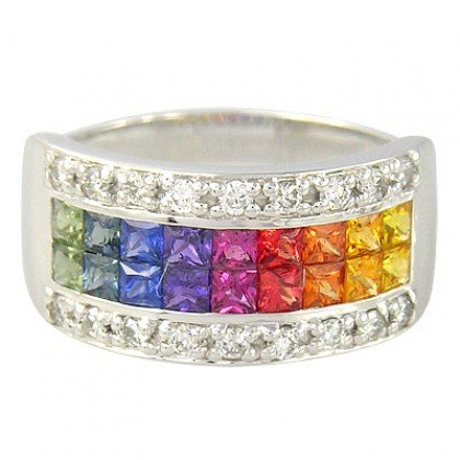 Rainbow Sapphire & Diamond Invisible Set Band Ring 14K White Gold (2.25ct tw) SKU: 1494-14K-WG