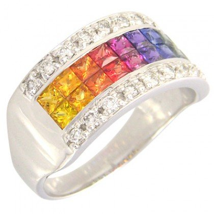Rainbow Sapphire & Diamond Invisible Set Band Ring 18K White Gold (2.25ct tw) SKU: 1494-18K-WG