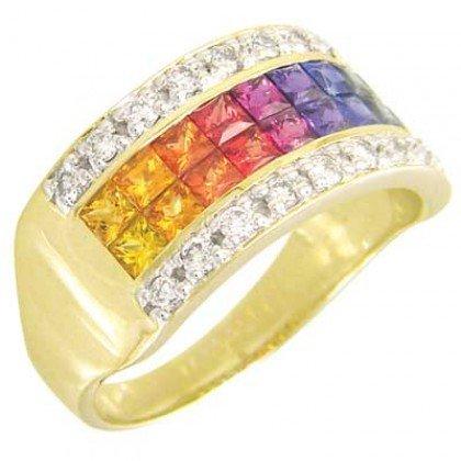 Rainbow Sapphire & Diamond Invisible Set Band Ring 18K Yellow Gold (2.25ct tw) SKU: 1494-18K-YG