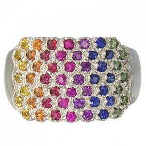 Rainbow Sapphire Womens Fashion Ring 14K White Gold (3/4ct tw) SKU: 1597-14K-WG