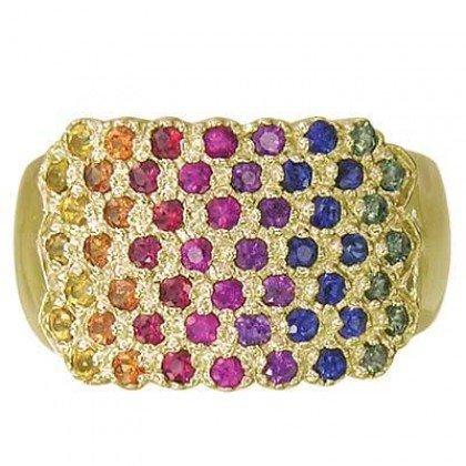 Rainbow Sapphire Womens Fashion Ring 14K Yellow Gold (3/4ct tw) SKU: 1597-14K-YG