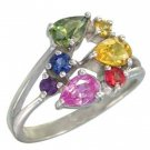 Rainbow Sapphire Multicolor Fireworks Ring 18K White Gold (1.5ct tw) SKU: 1601-18K-WG