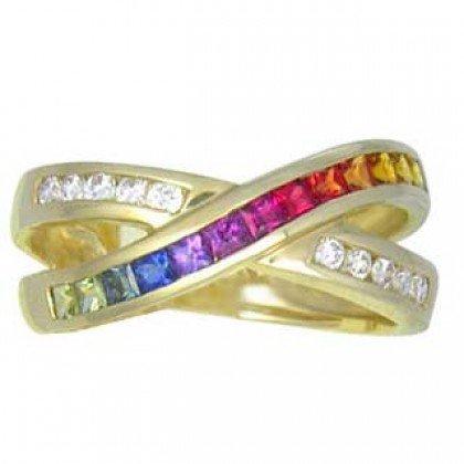 Multicolor Rainbow Sapphire & Diamond Crossover Ring 14K Yellow Gold (1.5ct tw) SKU: 398-14K-YG