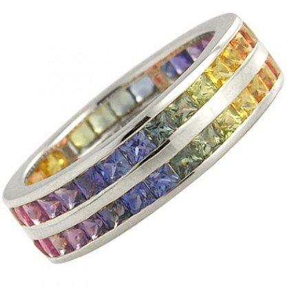 Multicolor Rainbow Sapphire Double Row Eternity Ring 18K White Gold (8ct tw) SKU: 387-18K-WG
