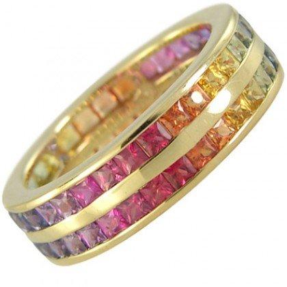 Multicolor Rainbow Sapphire Double Row Eternity Ring 18K Yellow Gold (8ct tw) SKU: 387-18K-YG