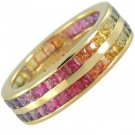 Multicolor Rainbow Sapphire Double Row Eternity Ring 18K Yellow Gold (8ct tw) SKU: 387-18K-YG