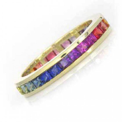 Multicolor Rainbow Sapphire Eternity Ring 18K Yellow Gold (4ct tw) SKU: 894-18K-YG