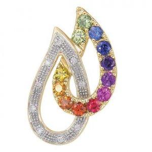 Rainbow Sapphire & Diamond Teardrop Pendant 14K Yellow Gold (0.92ctw) SKU: 1566-14K-YG