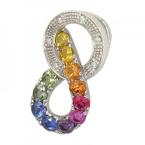 Rainbow Sapphire & Diamond Round Friendship Pendant 925 Sterling Silver(1.28ctw) SKU: 1568-925