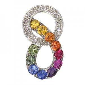 Rainbow Sapphire & Diamond Round Friendship Pendant 14K White Gold (1.28ctw) SKU: 1568-14K-WG