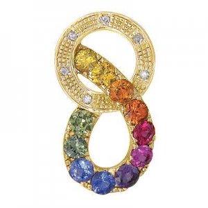 Rainbow Sapphire & Diamond Round Friendship Pendant 14K Yellow Gold (1.28ctw) SKU: 1568-14K-YG