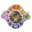 Rainbow Sapphire & Smoky Quartz Multi Shape Ring 925 Sterling Silver (2.58ct tw) SKU: 1575-925
