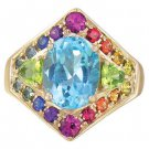 Rainbow Sapphire, Blue Topaz and Peridot Fashion Ring 14K Yellow Gold (4.4ct tw) SKU: 1569-14K-YG