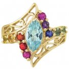 Rainbow Sapphire and Marquise Topaz Womens Ring 14K Yellow Gold (1.97ct tw) SKU: 1576-14K-YG