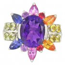 Rainbow Sapphire & Amethyst Color Explosion Ring 925 Sterling Silver (5.63ct tw) SKU: 1590-925