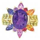 Rainbow Sapphire & Amethyst Color Explosion Ring 14K Yellow Gold (5.63ct tw) SKU: 1590-14K-YG