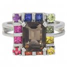 Rainbow Sapphire & Smoky Quartz Rubix Cube Ring 14K White Gold (3.26ct tw) SKU: 1618-14K-WG