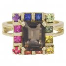 Rainbow Sapphire & Smoky Quartz Rubix Cube Ring 14K Yellow Gold (3.26ct tw) SKU: 1618-14K-YG