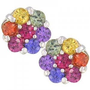 Rainbow Sapphire Earrings Flower Cluster 925 Sterling Silver (2ct tw) SKU: 1617-925