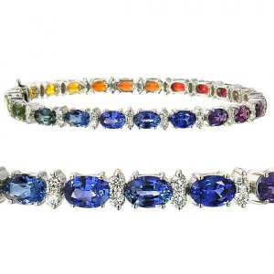 Multicolor Rainbow Sapphire & Diamond 6x4mm Tennis Bracelet 18K White Gold (14ct tw)