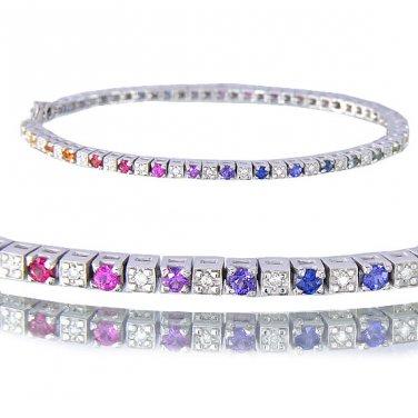 Multicolor Rainbow Sapphire & Diamond 925 Sterling Silver Tennis Bracelet (2.8ct tw) SKU: 1860-925