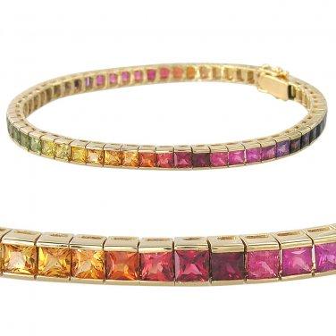 Rainbow Sapphire Tennis Bracelet 14K Yellow Gold (16ct tw) SKU: 622-14K-YG
