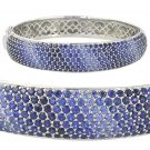 Graduating Blue Sapphire Ombre Bracelet 925 Sterling Silver Bangle (12.0ct tw) SKU:	1831-925
